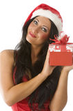 Brunette in christmas Stock Photography