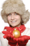 Brunette with christmas ball Stock Photos