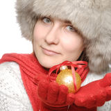 Brunette with christmas ball Royalty Free Stock Images