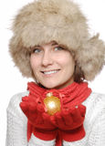 Brunette with christmas ball Stock Photo