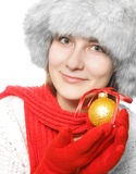 Brunette with christmas ball Stock Photography