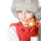 Brunette with christmas ball Royalty Free Stock Photo