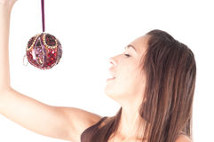 Brunette with christmas decoration Stock Photos