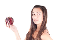 Brunette with christmas decoration Royalty Free Stock Photos