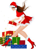 Brunette christmas girl with gift Royalty Free Stock Photography