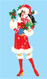 Brunette Christmas Girl wearing Santa Claus suit a Stock Photography