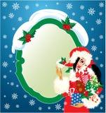 Brunette Christmas Girl wearing Santa Claus suit a stock illustration