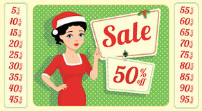 Brunette and Christmas sale. Retro style Christmas sale tag with girl presenting discounts. Set of all relevant numbers included. No need to match a font or Royalty Free Stock Photos