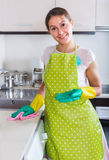 Brunette cleaning in the kitchen Stock Images