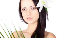 Brunette closeup woman portrait over white Royalty Free Stock Image