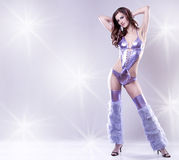 Brunette in clubwear Royalty Free Stock Images