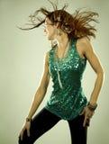 Brunette in clubwear Royalty Free Stock Image