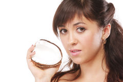 Brunette with coconut Stock Photo