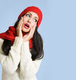 Brunette in colorful winter clothes. Stock Photography