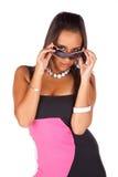 Brunette com óculos de sol Imagem de Stock Royalty Free