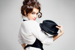Brunette com chapéu foto de stock