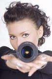 Brunette com lente fotos de stock royalty free
