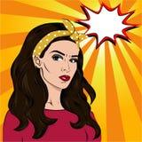 Brunette comics girl Stock Images