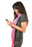 Brunette con el móvil Fotografía de archivo libre de regalías