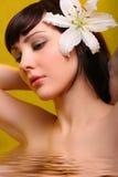 Brunette con i fiori del giglio bianco in acqua Fotografia Stock Libera da Diritti