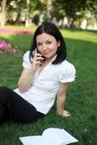 Brunette con un telefono Fotografia Stock Libera da Diritti