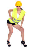 Brunette in construction worker outfit Royalty Free Stock Photo