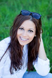 Brunette cool girl with brackets outside Royalty Free Stock Images