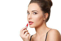 Brunette cosmetics beauty. Stock Photos