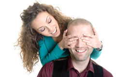 Brunette covering eyes young businessman Royalty Free Stock Images