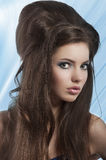 Brunette with creative vintage hair style Stock Images
