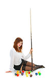 Brunette with cue and ball Royalty Free Stock Photo