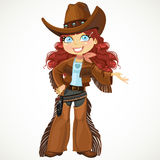 Brunette curly hair cowgirl with colt Stock Image