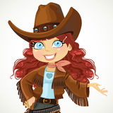 Brunette curly hair cowgirl shows hand to the side and talking Stock Photography