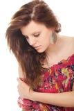 Brunette da mulher nova do encarregado do retrato do close up fotos de stock royalty free