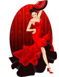 Brunette dance flamenco. Vector illustration of flamenco dancer with fan vector illustration