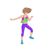 Brunette dancing Zumba Stock Photography