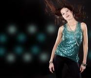 Brunette dans clubwear Images libres de droits