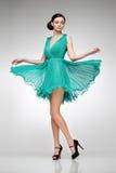 Brunette dans la robe de sarcelle d'hiver Image libre de droits
