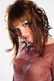 Brunette dans le rose photos stock