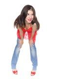 Brunette de fille et santals rouges Photographie stock