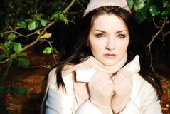 Brunette in de herfstscène Royalty-vrije Stock Afbeeldingen