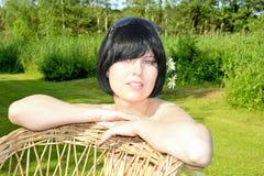 Brunette de ojos azules Fotos de archivo libres de regalías