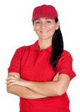 Brunette dealer with red uniform Royalty Free Stock Photography