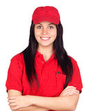Brunette dealer with red uniform. Isolated over white background royalty free stock photography