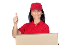 Brunette dealer with red uniform Stock Photos