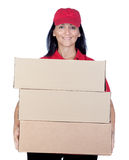 Brunette dealer with red uniform Royalty Free Stock Photo
