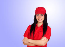 Brunette dealer with red uniform Stock Image