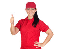 Brunette dealer with red uniform saying OK Stock Photos