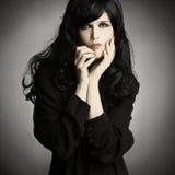 Brunette della donna del ritratto di modo Fotografia Stock