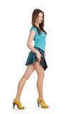 brunette in denim skirt Royalty Free Stock Photos